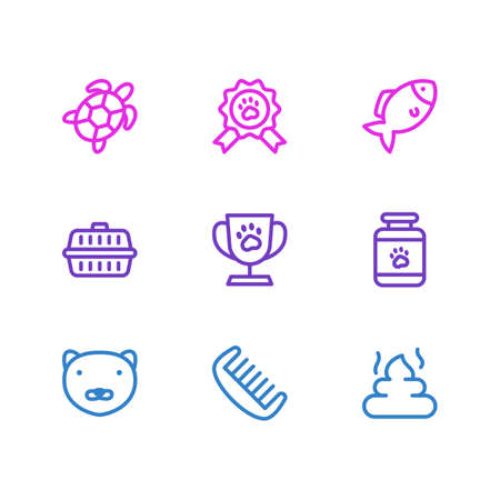 Vector illustration of 9 animal icons line style. Editable set of turtle, pet medicine, pet cup and other icon elements.