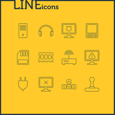 Vector illustration of 12 laptop icons line style. Editable set of plug, keyboard, headphones and other icon elements. Иллюстрация