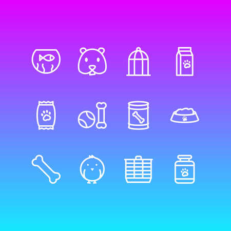 Vector illustration of 12 pet icons line style. Editable set of kibble, bone, fishbowl and other icon elements.