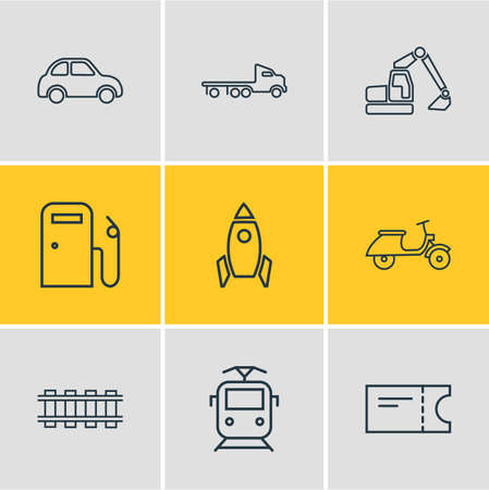 Vector illustration of 9 transportation icons line style. Editable set of scooter, train ticket, digger and other icon elements.