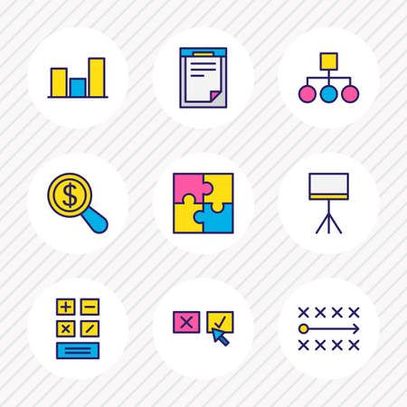Vector illustration of 9 management icons colored line. Editable set of puzzle, document, bar chart and other icon elements. Illustration