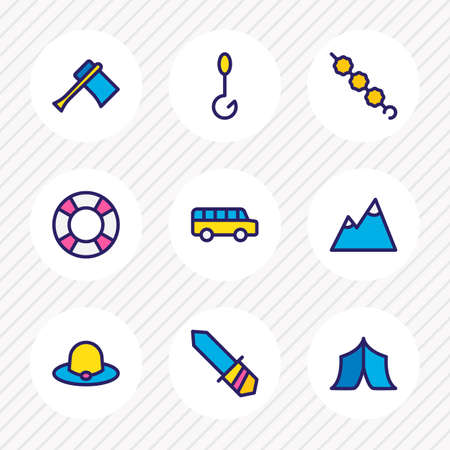 Vector illustration of 9 camping icons colored line. Editable set of axe, bus, fishing and other icon elements. Vector Illustration