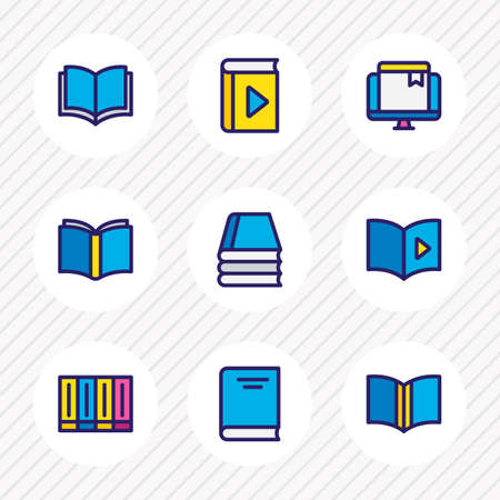 illustration of 9 book icons colored line. Editable set of publication, audio book, publishing and other icon elements.