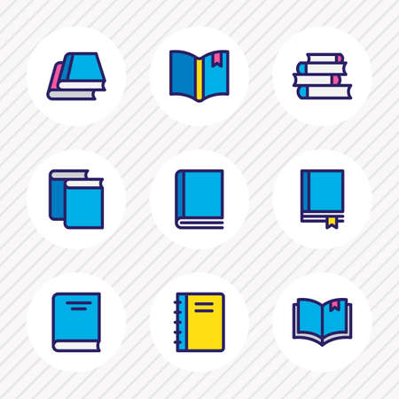 illustration of 9 read icons colored line. Editable set of notebook, encyclopedia, bookmarking and other icon elements.