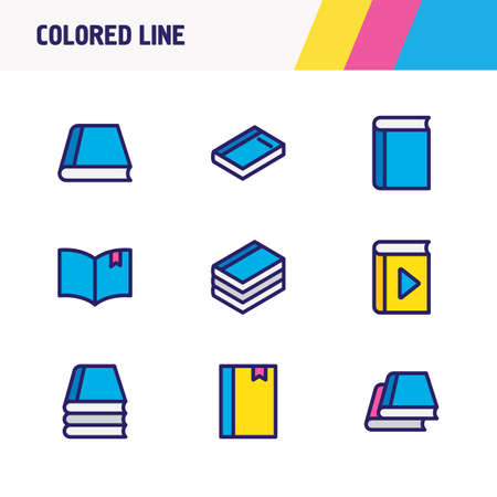 illustration of 9 read icons colored line. Editable set of knowledge, player, dictionary and other icon elements.