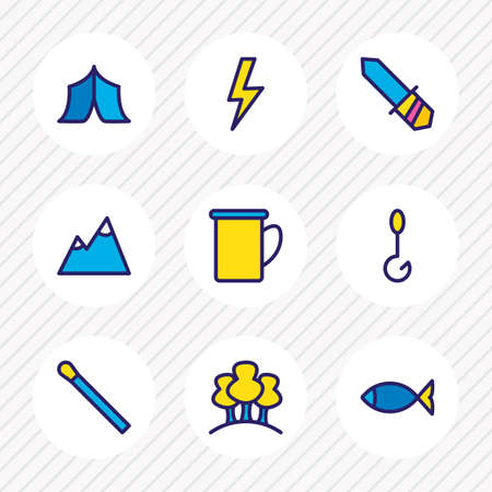 illustration of 9 camp icons colored line. Editable set of mountain, tent, lightning and other icon elements.