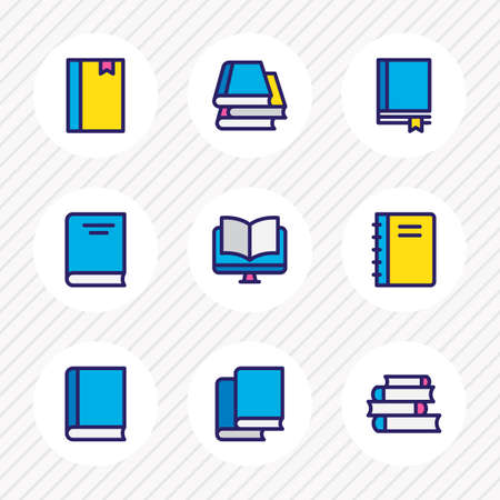 Vector illustration of 9 book icons colored line. Editable set of notepad, tutorial, encyclopedia and other icon elements.