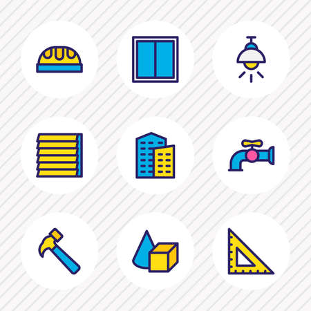 Vector illustration of 9 construction icons colored line. Editable set of water crane, building, hammer and other icon elements.
