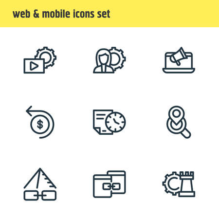 illustration of 9 advertising icons line style. Editable set of online branding, longtime contract, local search icon elements. Stock fotó