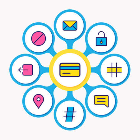 illustration of 9 annex icons colored line. Editable set of mail, unlock, credit card and other icon elements. Stock fotó
