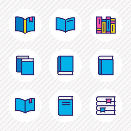 illustration of 9 book icons colored line. Editable set of education, textbook, bookshelf and other icon elements.