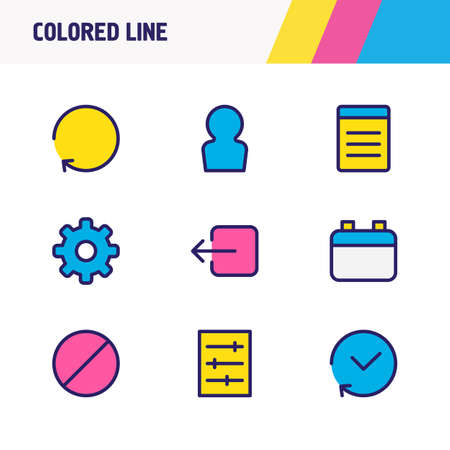 Vector illustration of 9 application icons colored line. Editable set of list, calendar, refresh and other icon elements. Ilustração