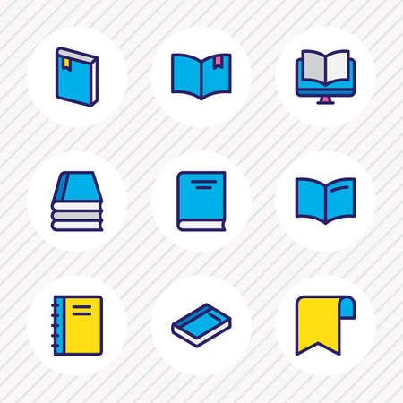 illustration of 9 education icons colored line. Editable set of banner, book reading, encyclopedia and other icon elements. Stock Photo