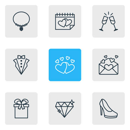 illustration of 9 engagement icons line style. Editable set of champagne, hearts, necklace and other icon elements.