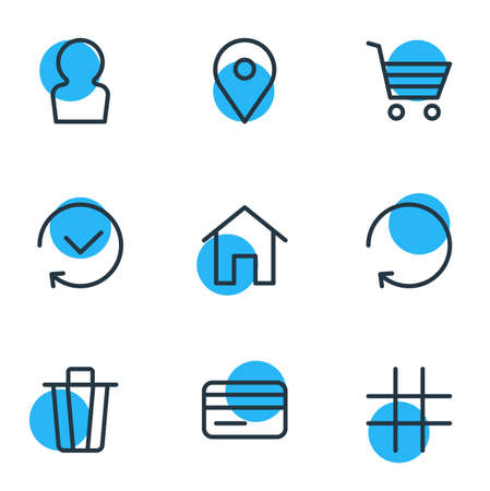 illustration of 9 app icons line style. Editable set of trash can, location, home and other icon elements. 版權商用圖片