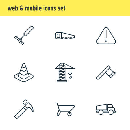 Vector illustration of 9 industry icons line style. Editable set of crane, warning, axe and other icon elements. Çizim
