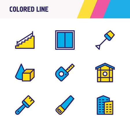 Illustration vectorielle de 9 icônes de l'industrie ligne colorée. Ensemble modifiable de scie, bâtiment, fenêtre et autres éléments d'icône. Vecteurs