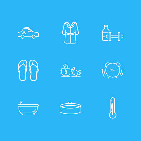 Vector illustration of 9 tourism icons line style. Editable set of taxi, alarm, tea with croissant and other icon elements.