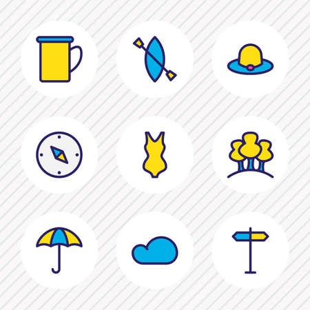 Vector illustration of 9 camp icons colored line. Editable set of umbrella, bikini, signpost and other icon elements.