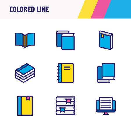 illustration of 9 book reading icons colored line. Editable set of article, document, magazine and other icon elements.