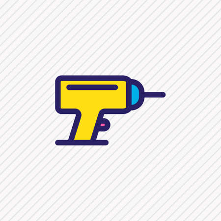 Vector illustration of drill icon colored line. Beautiful industry element also can be used as electric driver icon element.