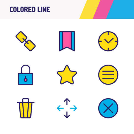 Vector illustration of 9 application icons colored line. Editable set of bookmark, menu, move and other icon elements.