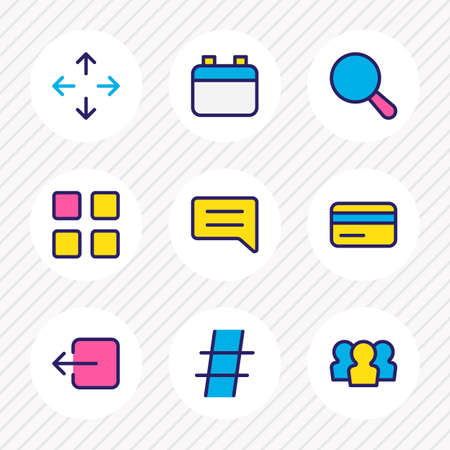 illustration of 9 annex icons colored line. Editable set of calendar, search, move and other icon elements.