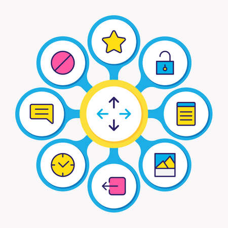 illustration of 9 annex icons colored line. Editable set of unlock, comment, sign out and other icon elements.