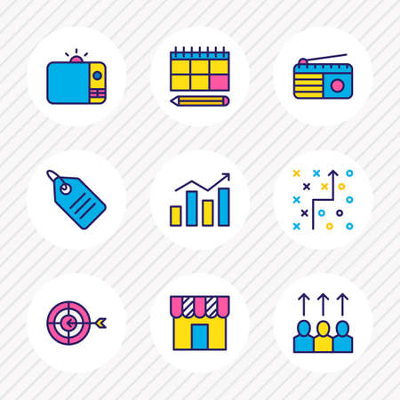 illustration of 9 advertising icons colored line. Editable set of strategy, radio, price tag and other icon elements. Фото со стока