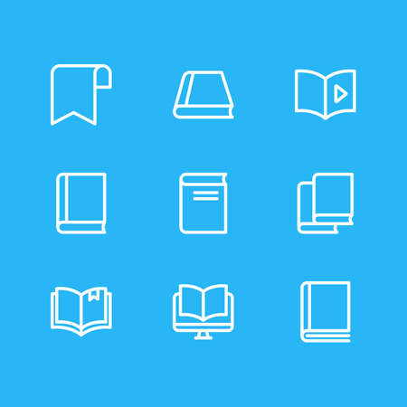 illustration of 9 education icons line style. Editable set of audio book, ribbon, ebook and other icon elements.