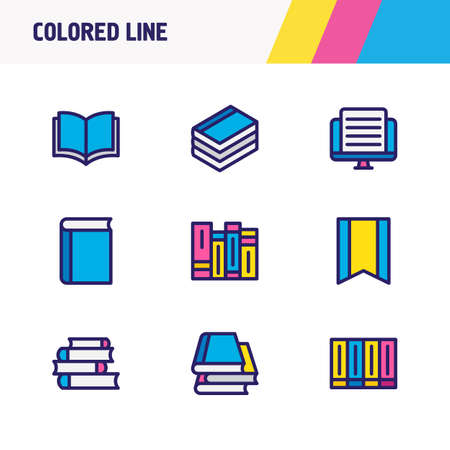 illustration of 9 book reading icons colored line. Editable set of bookmark, document, textbook and other icon elements.