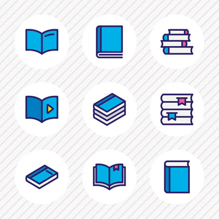 illustration of 9 book reading icons colored line. Editable set of bookshelf, document, read and other icon elements.