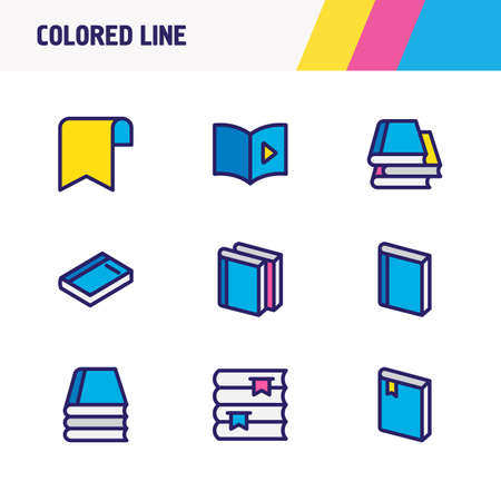 illustration of 9 read icons colored line. Editable set of dictionary, audio book, literature and other icon elements.