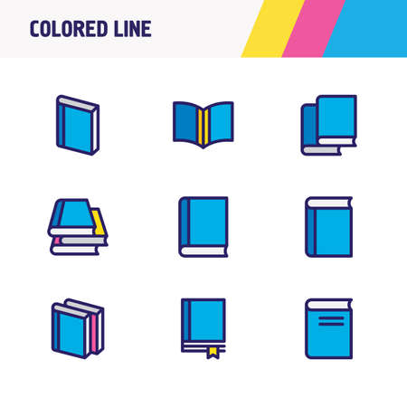 illustration of 9 book icons colored line. Editable set of book, textbook, bookstore and other icon elements.
