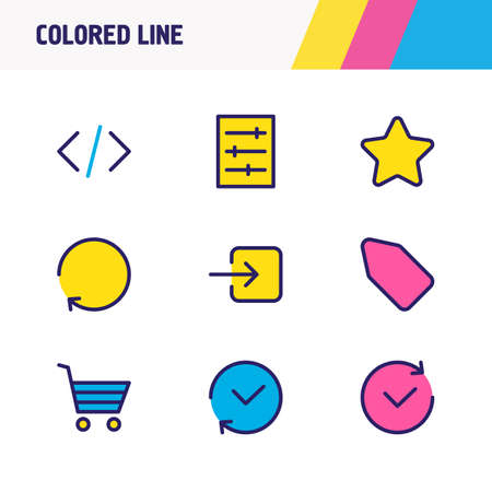 Vector illustration of 9 annex icons colored line. Editable set of future, history, code and other icon elements.