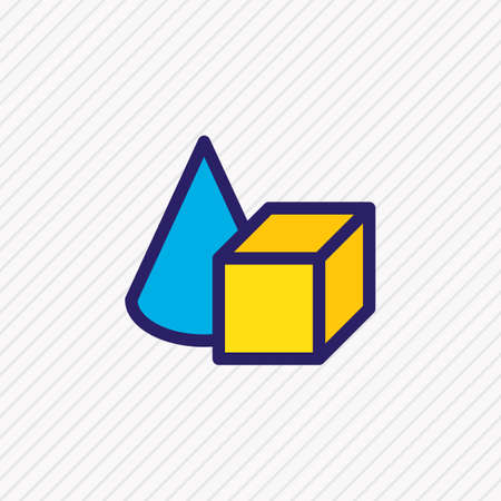 Vector illustration of figures icon colored line. Beautiful construction element also can be used as cylinder cube icon element.