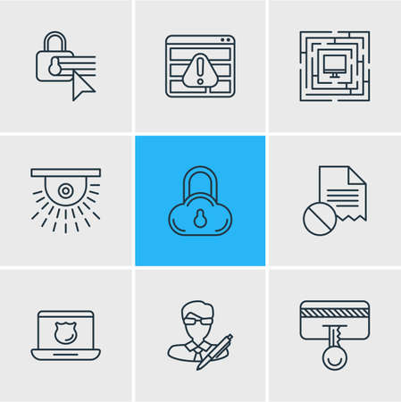 Vector illustration of 9 protection icons line style. Editable set of access denied, cloud data protection, protected computer and other icon elements. Stock Illustratie