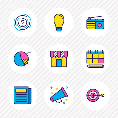 Vector illustration of 9 marketing icons colored line. Editable set of advertising, idea, planning and other icon elements.