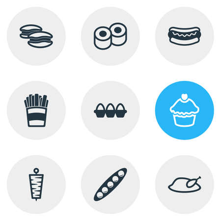 Vector illustration of 9 meal icons line style. Editable set of french fries, hot dog, peas and other icon elements.
