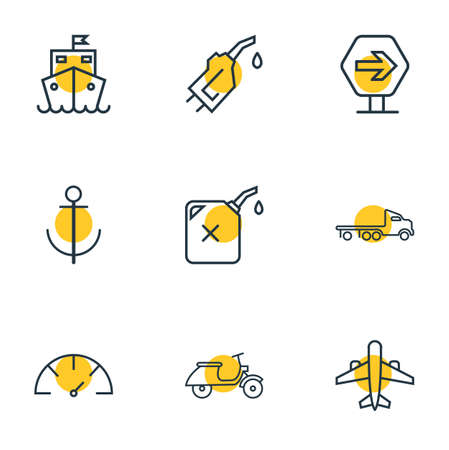 Vector illustration of 9 transportation icons line style. Editable set of cruise ship, road sign, scooter and other icon elements.