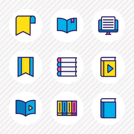 illustration of 9 read icons colored line. Editable set of schoolbook, book reading, textbook and other icon elements.