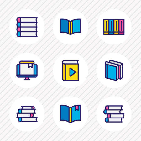 illustration of 9 read icons colored line. Editable set of literature, bookmarking, publish and other icon elements. Stock Photo