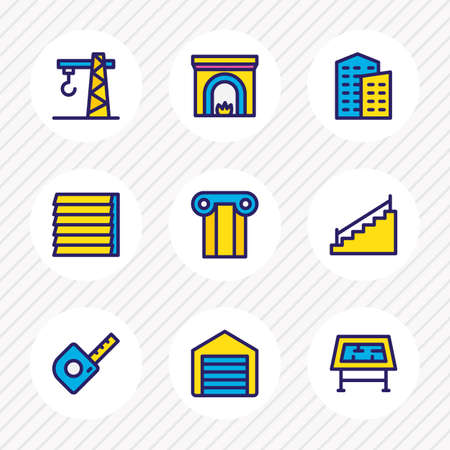 Vector illustration of 9 architecture icons colored line. Editable set of garage, drawing table, column and other icon elements. Çizim