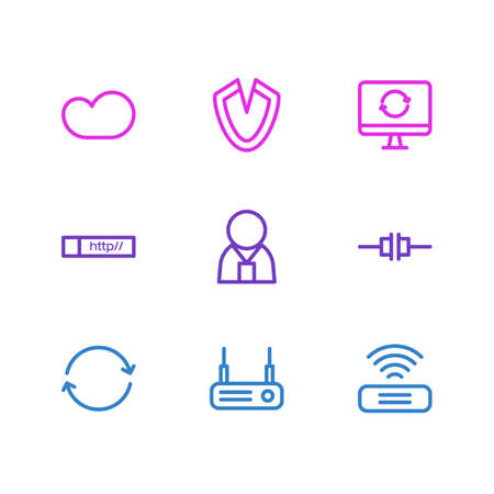Vector illustration of 9 internet icons line style. Editable set of web address, virus, sync and other icon elements. Illustration