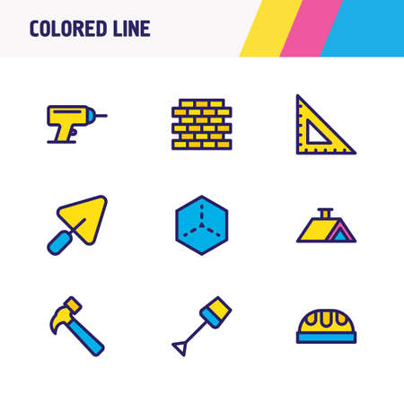 Vector illustration of 9 architecture icons colored line. Editable set of house 3d, hammer, worker hat and other icon elements.