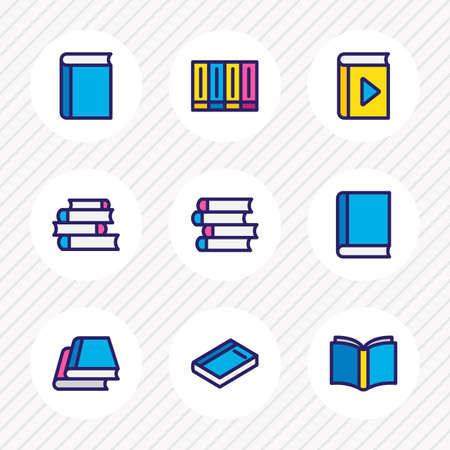 illustration of 9 book icons colored line. Editable set of lecture, publication, dictionary and other icon elements.