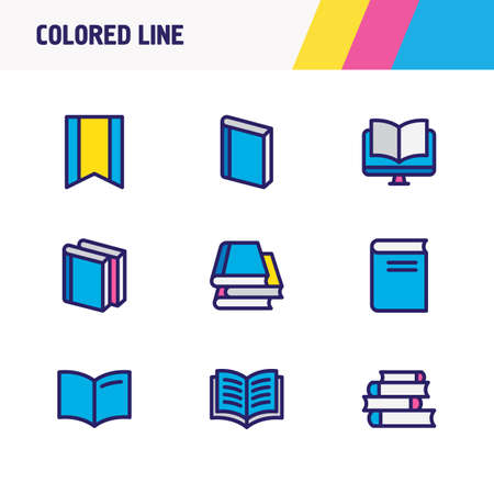 illustration of 9 book icons colored line. Editable set of lecture, ebook, literature and other icon elements. Фото со стока