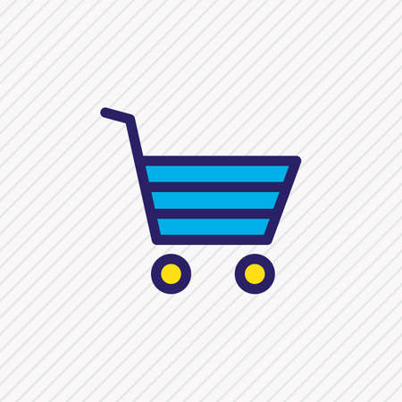 Vector illustration of buying cart icon colored line. Beautiful app element also can be used as shopping icon element.