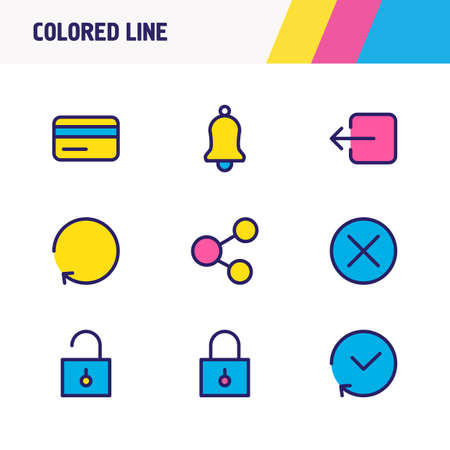 Vector illustration of 9 app icons colored line. Editable set of close, sign out, history and other icon elements.