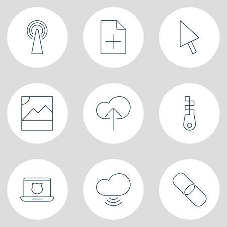 Vector illustration of 9 network icons line style. Editable set of add data, antenna, safe computer and other icon elements.